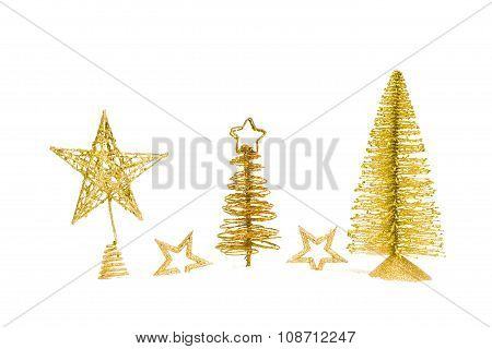 fir-tree with star isolated on white background