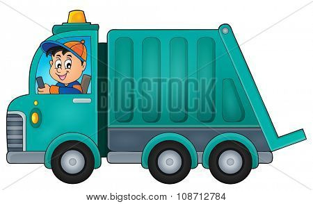 Garbage collection truck theme image 1 - eps10 vector illustration.