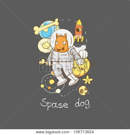 Card With Dog Astronaut.
