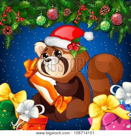 Cartoon raccoon in Christmas hat with gift on a Christmas background