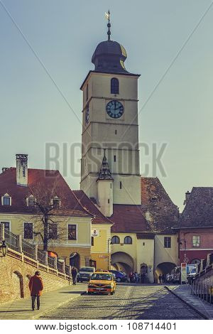 The Council Tower In The Small Square, Sibiu, Romania