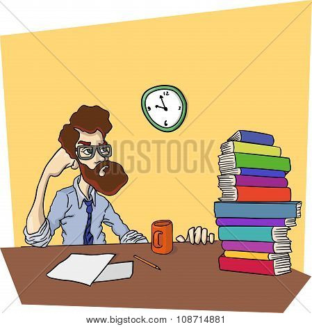 Disgruntled man at a table with stack of books