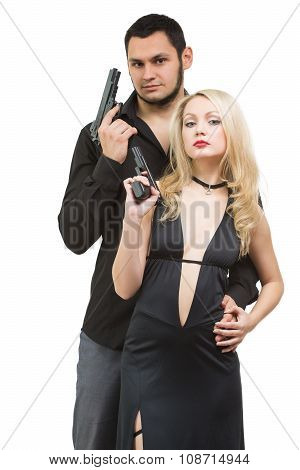 Man detective agent criminal and sexy spy woman with gun. Isolated on white background.