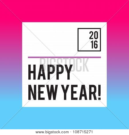 Neon bright New Year design with typography