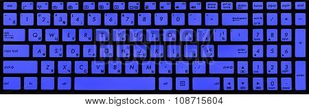 Modern Black And Blue Laptop Keyboard Isolated