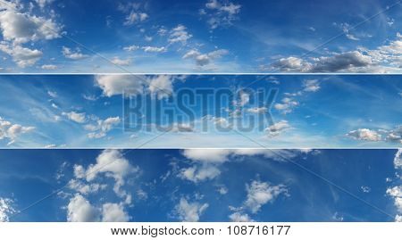 Three beautiful sky panoramas cloudscape over horizon.