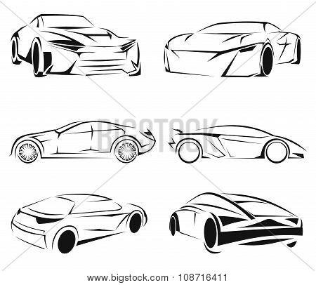 Car silhouettes set