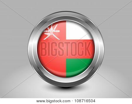 Flag Of Oman. Metal Round Icon