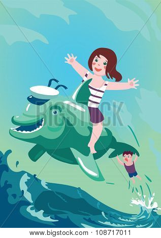 Boy and girl riding on a dolphin
