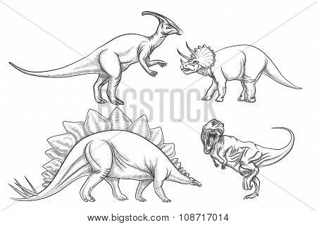 Dinosaurs vector set. Hand drawn illustration