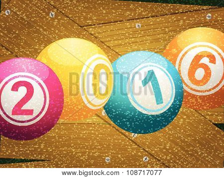 Bingo Lottery Ball 2016 On Wooden Background