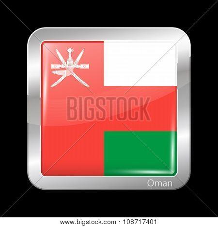 Flag Of Oman. Metallic Icon Square Shape
