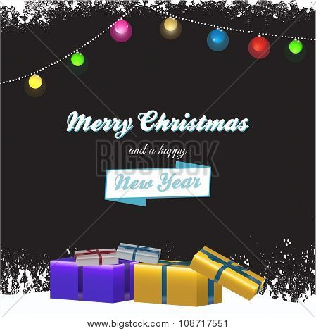 Christmas Background With Gift Boxes And Text