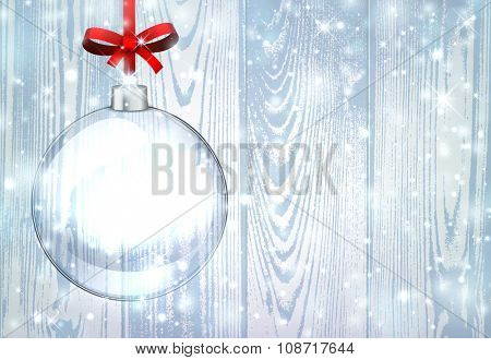 New Year background with ball. Vector paper illustration.