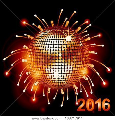 Disco Ball Over Fireworks 2016