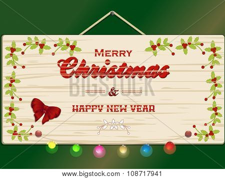 Merry Christmas And New Year Wooden Sign
