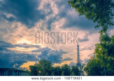 Evening Clouds Over Eiffel Tower