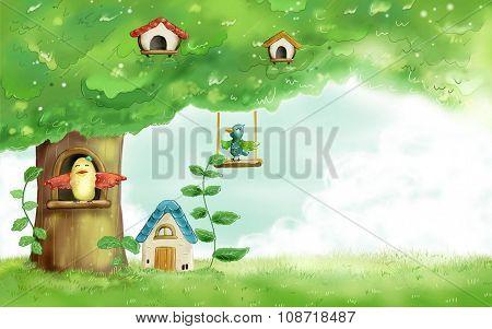 birdhouses, children's drawing, creative ideas