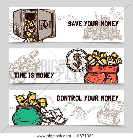 Time management financial banners set doodle