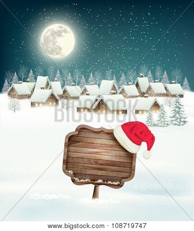 Winter village night background with wooden sign. Vector.