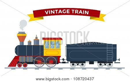Old vintage retro transportation train vector collection