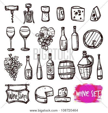 Wine black doodle icons set