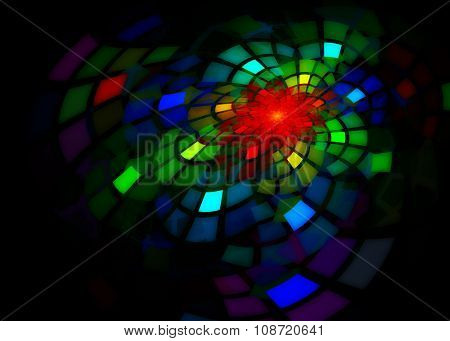 Fractal with large colorful curved tiles glowing on black background