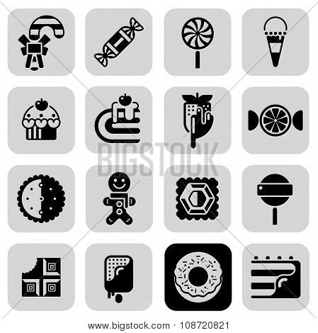 Sweets Black White Icons Set