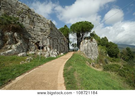 Ancient Megalithic Doorgate In Norba, Italy
