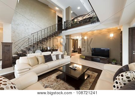 Multilevel Living Room Interior