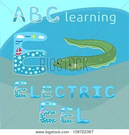 Electric eel fish Green spotted snake fish cartoon character isolated on white background Ocean ani