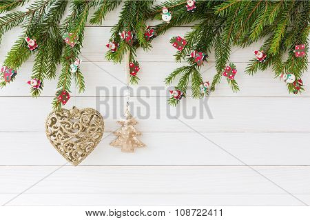 Christmas Background. Christmas Fir Tree, Christmas Tree Toys, Golden Heart And Small Fir On White W