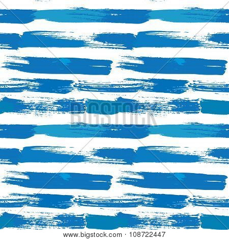 Seamless Stripes Pattern With Lines And Ink Splashes In Blue Colors. Abstract Background For Design