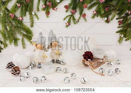 Christmas Composition With Angels And Bells