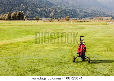Golf Bag In The Golf Course