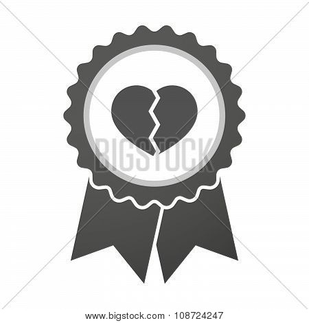 Vector Badge Icon With A Broken Heart