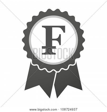 Vector Badge Icon With A Swiss Franc Sign