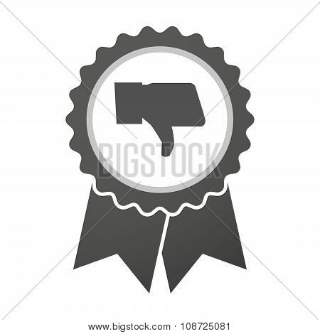 Vector Badge Icon With A Thumb Down Hand