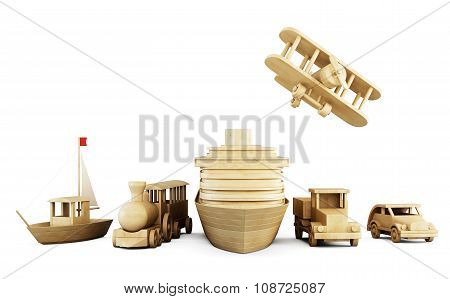 Set Of Wooden Toys - Different Types Of Transport.