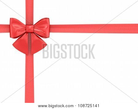 Red Tape With A Bow On A White Background.
