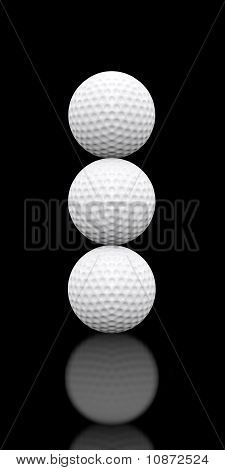 Golf Balls Stacked Three High