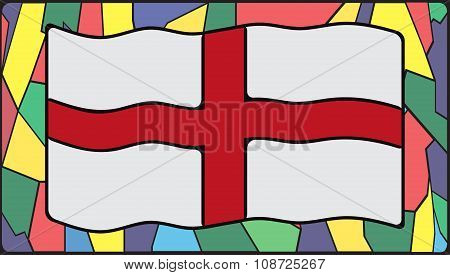 England Flag On Stained Glass