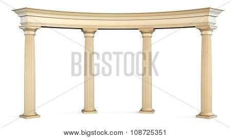 Roman Columns Gate Isolated On White With Clipping Path. 3D.
