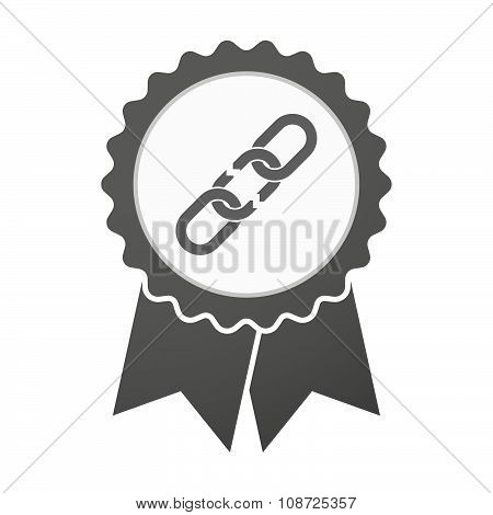 Vector Badge Icon With A Broken Chain