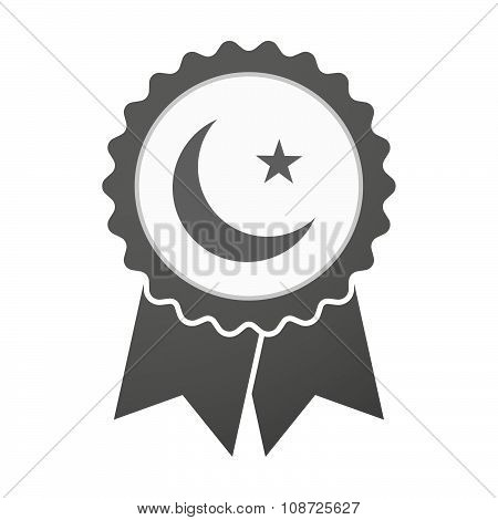 Vector Badge Icon With An Islam Sign