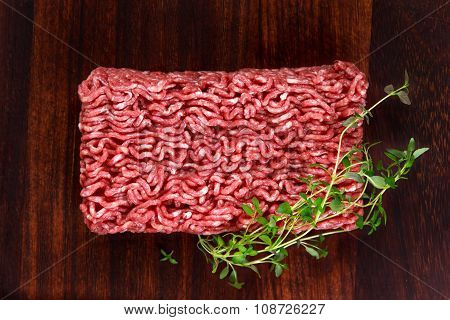 Fresh Raw Mince Beef On Wooden Table