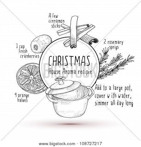 Smell Like Christmas Recipie Sketch Illustration