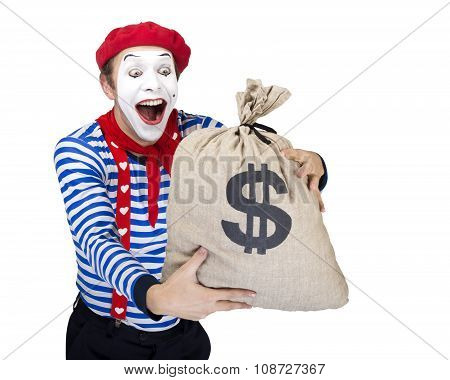 Mime with money bag.Emotional funny actor wearing sailor suit, red beret posing on white isolated ba