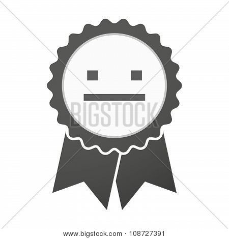Vector Badge Icon With A Emotionless Text Face