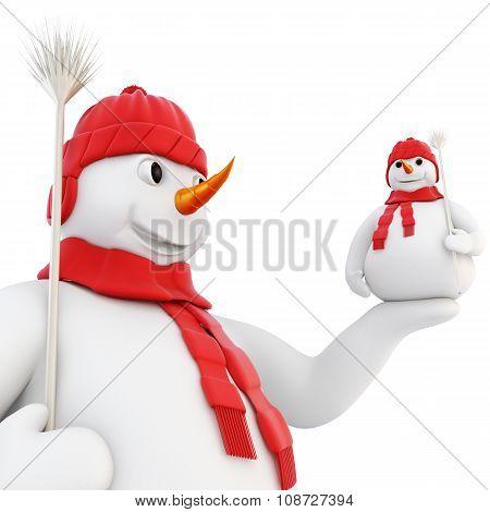 Snowman Holds Her Hand On The Little Snowman. 3D.